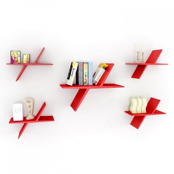 FabFull Butterfly set of 5 shelf Red