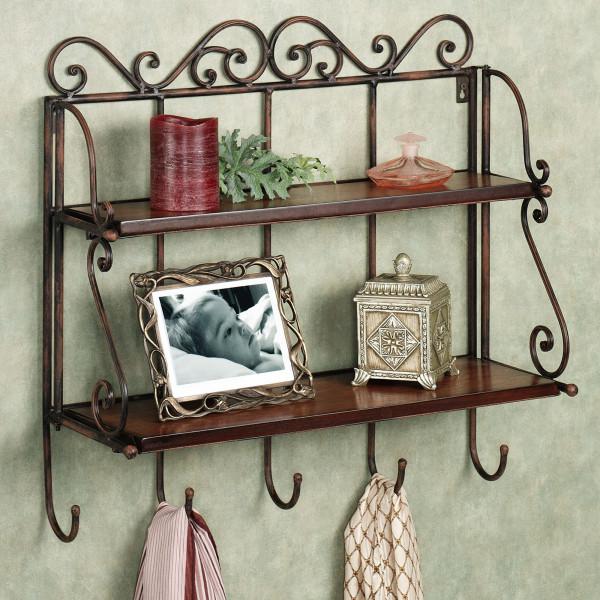 FabFull Ferrara 2 Tier wall Shelf with Hooks