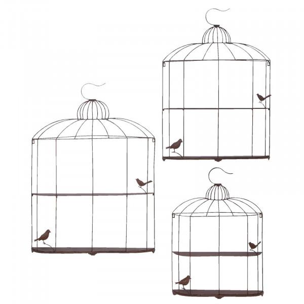 FabFull Metal Bird Cage Wall Shelf Set of 3