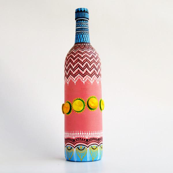 Art can b Bottle art flower vase purple with button thread work