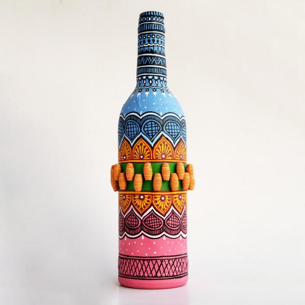 Art can b Bottle art flower vase blue and pink tomb design