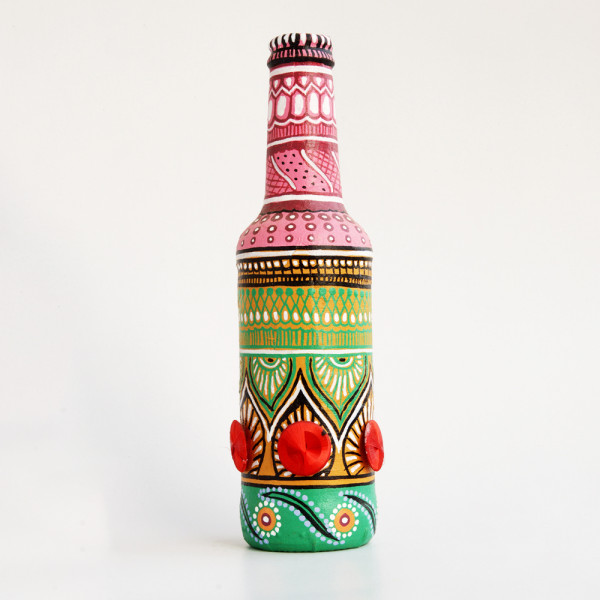 Art can b Bottle art flower vase green and red button thread