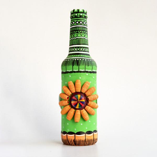 Art can b Bottle art flower vase green with beads
