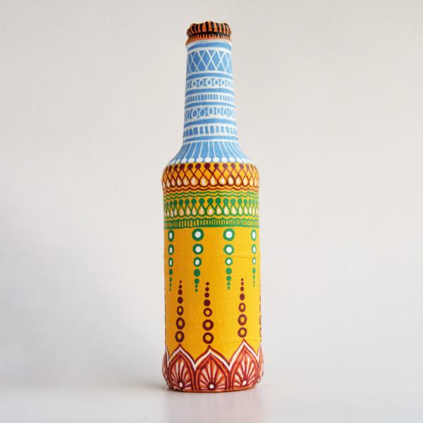 Art can b Bottle art flower vase blue and orange dot design