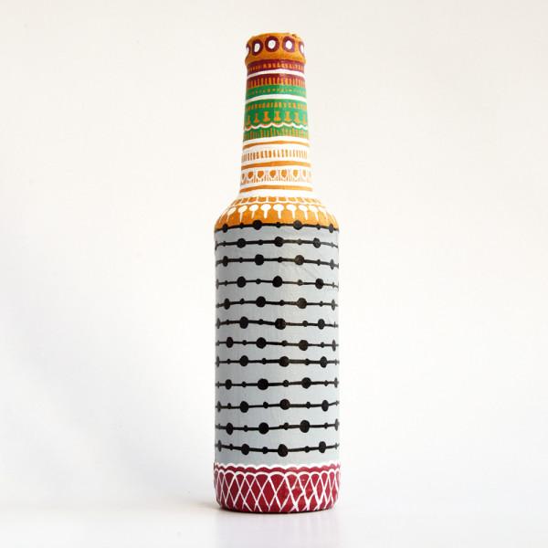 Art can b Bottle art flower vase grey and black stripe
