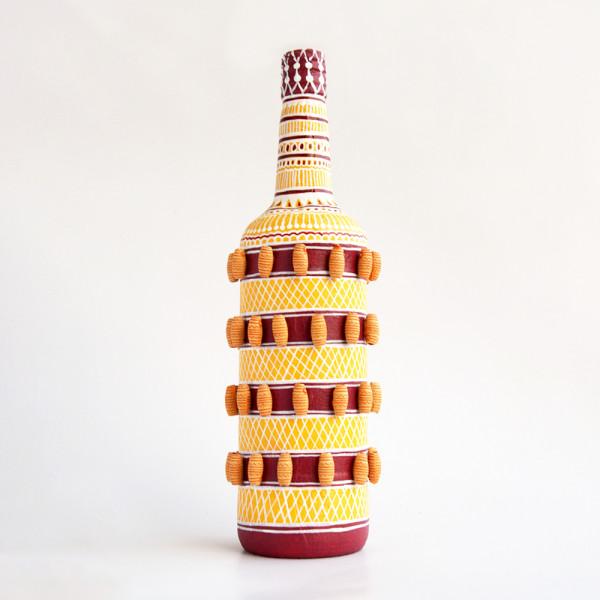 Art can b Bottle art flower vase orange and maroon stripe