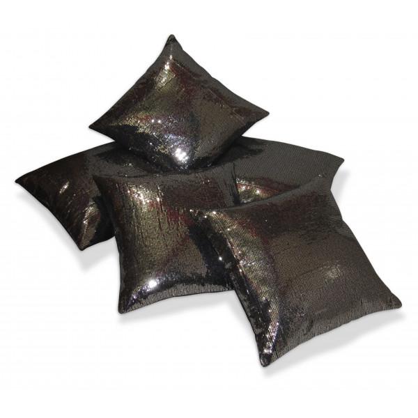 Zikrak Exim Set of 5 Black n Beige Checkered velvet Cushion Covers