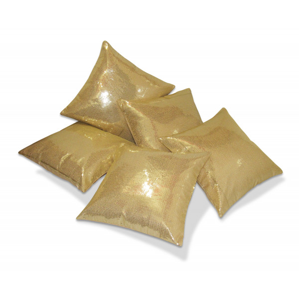Zikrak Exim Set of 5 Gold Sequence Cushion Covers