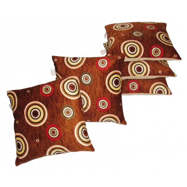 Zikrak Exim Set of 5 Rust velvet Cushion Covers
