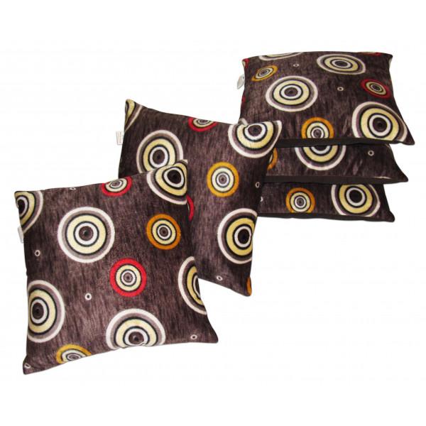 Zikrak Exim Set of 5 Brown velvet Cushion Covers
