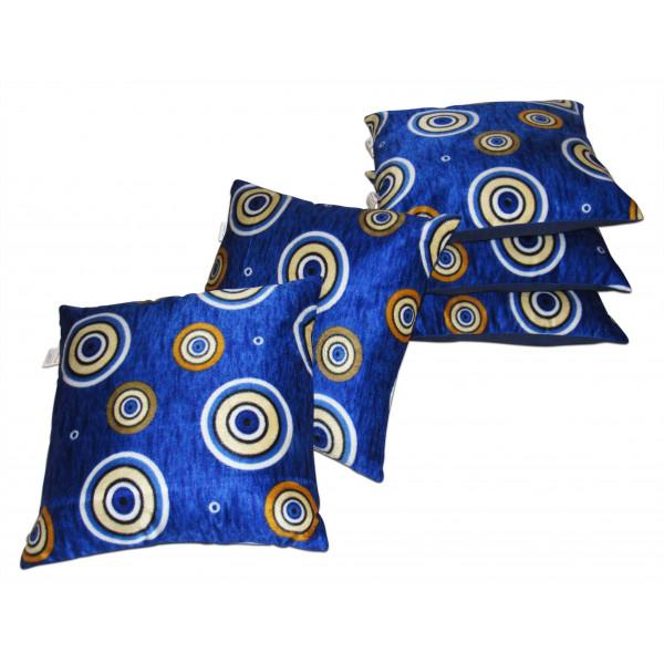 Zikrak Exim Set of 5 Blue velvet Cushion Covers