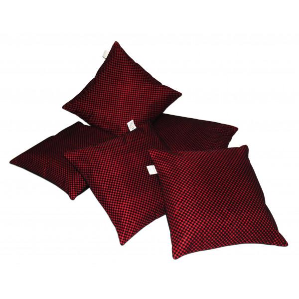Zikrak Exim Set of 5 Maroon n Black Checkered velvet Cushion Covers