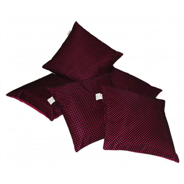 Zikrak Exim Set of 5 Fushia n Black Checkered velvet Cushion Covers