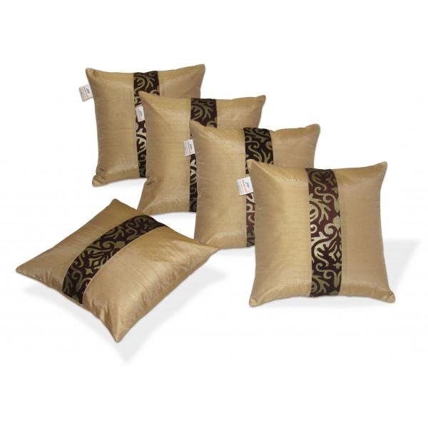 Zikrak Exim Set of 5 Beige N Brown Polyester Cushion Covers