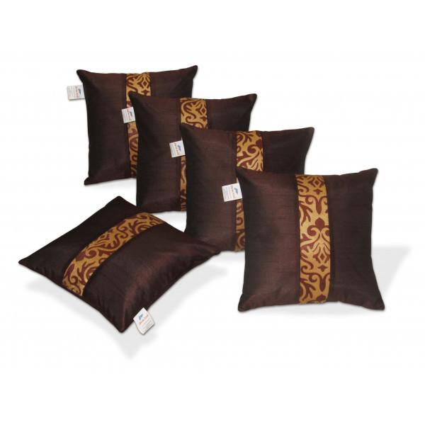 Zikrak Exim Set of 5 Brown N Beige Polyester Cushion Covers
