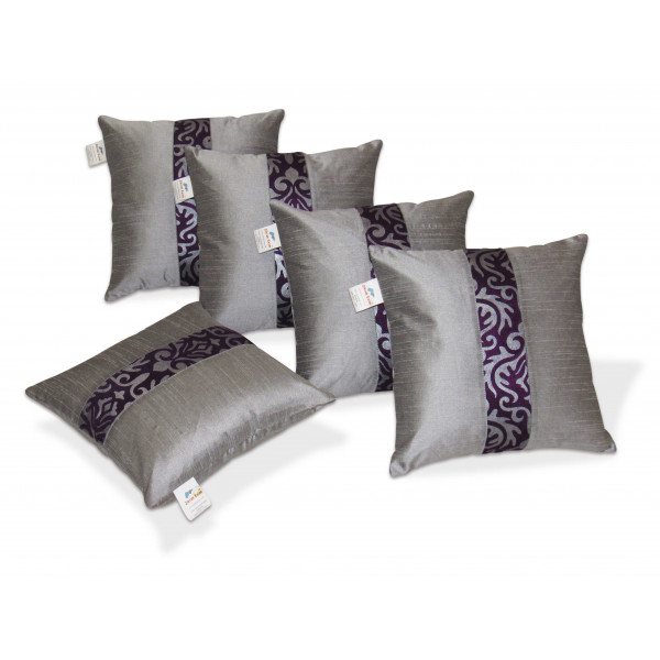 Zikrak Exim Set of 5 Silver N Blue Polyester Cushion Covers