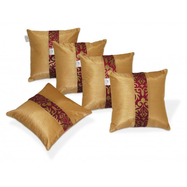 Zikrak Exim Set of 5 Beige N Maroon Polyester Cushion Covers