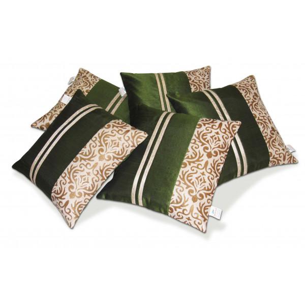Zikrak Exim Set of 5 Green N Beige Polyester Stripy Cushion Covers