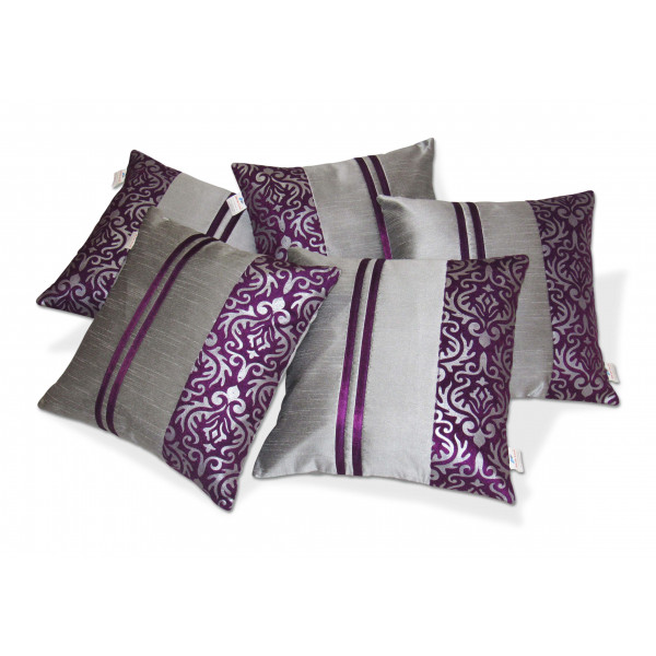 Zikrak Exim Set of 5 Silver N Blue Polyester Stripy Cushion Covers