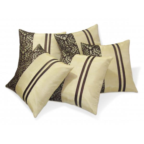 Zikrak Exim Set of 5 Rust N Beige Polyester Stripy Cushion Covers