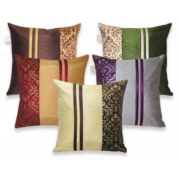Zikrak Exim Set of 5 Multi Polyester Stripy Cushion Covers