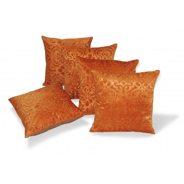 Zikrak Exim Set of 5 Orange Flocking Cushion Covers