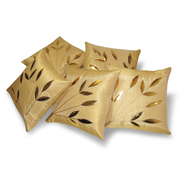 Zikrak Exim Set of 5 Leaves Patch Beige Cushion Covers
