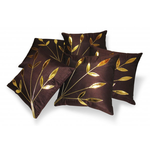 Zikrak Exim Set of 5 Leaves Patch Brown Cushion Covers