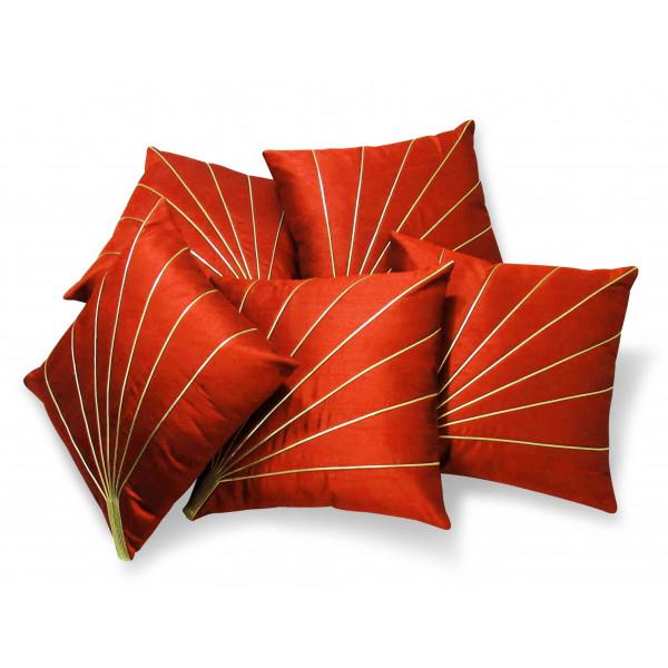 Zikrak Exim Set of 5 Bloom Rays Rust Cushion Covers