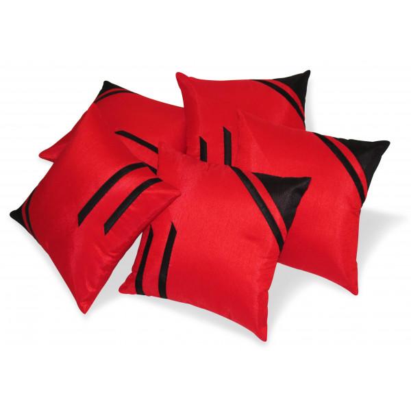 Zikrak Exim Set of 5 Classical Red N Black Cushion Covers