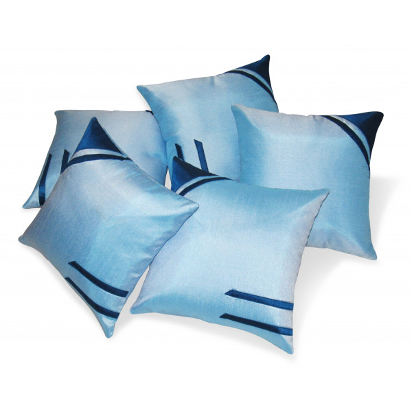 Zikrak Exim Set of 5 Classical Sky Blue N Tuquise Cushion Covers