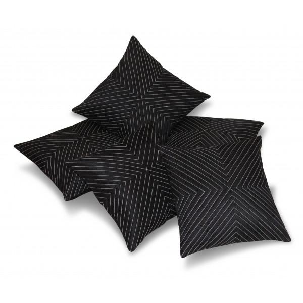 Zikrak Exim Set of 5 Vertical Tread Black Cushion Covers