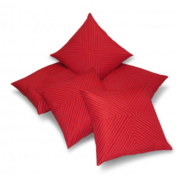 Zikrak Exim Set of 5 Vertical Tread Red Cushion Covers