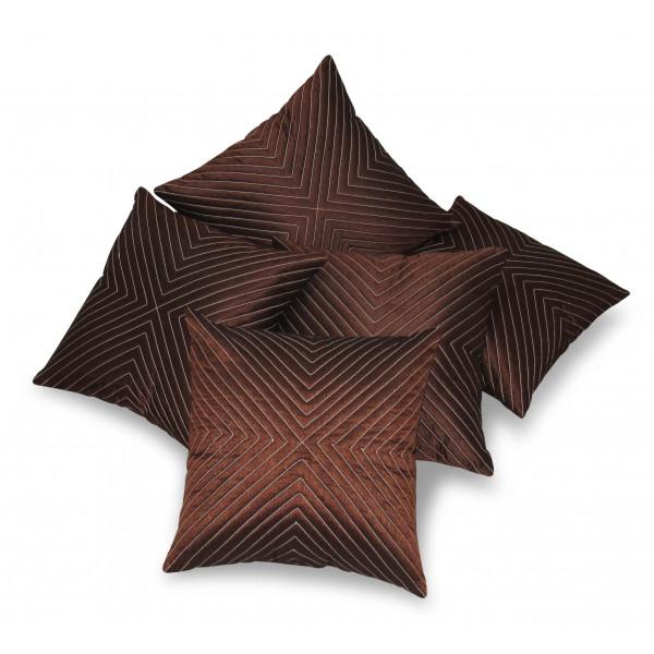 Zikrak Exim Set of 5 Vertical Tread Brown Cushion Covers