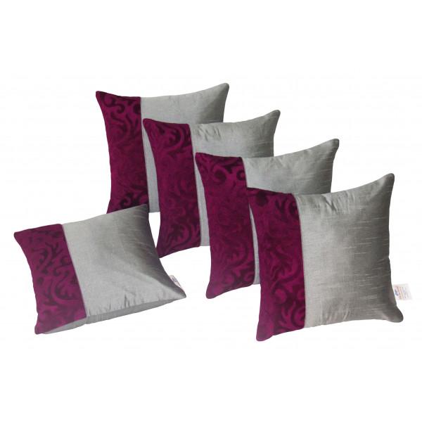 Zikrak Exim Set of 5 Silver N Purple Cushion Covers
