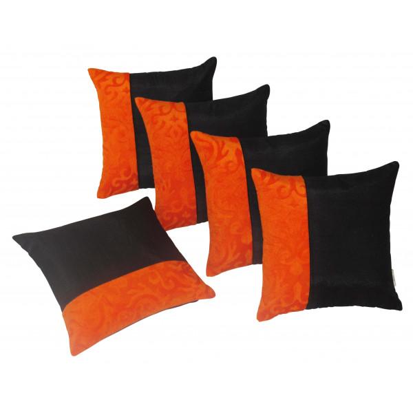 Zikrak Exim Set of 5 Black N Orange Cushion Covers