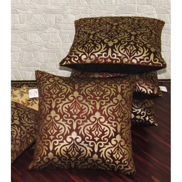 Zikrak Exim Set of 5 Brown Printed Velvet Cushion Covers