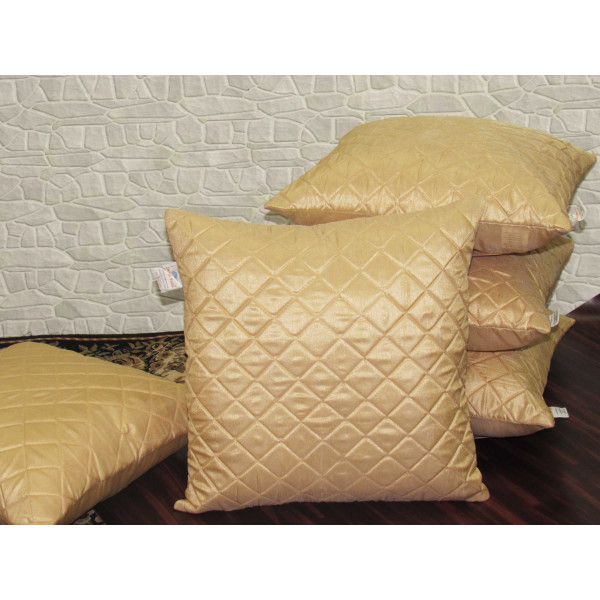 Zikrak Exim Set of 5 Beige Box Quilted Cushion Covers