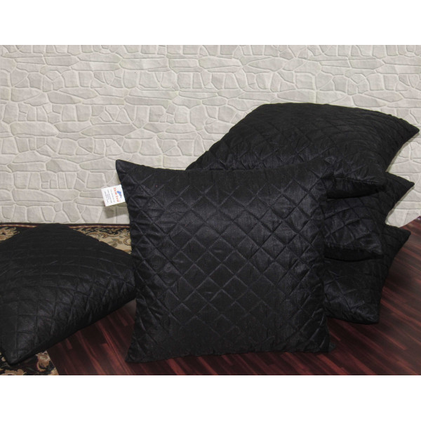 Zikrak Exim Set of 5 Black Box Quilted Cushion Covers