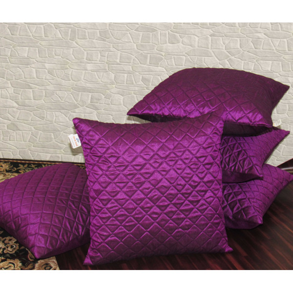Zikrak Exim Set of 5 Purple Box Quilted Cushion Covers