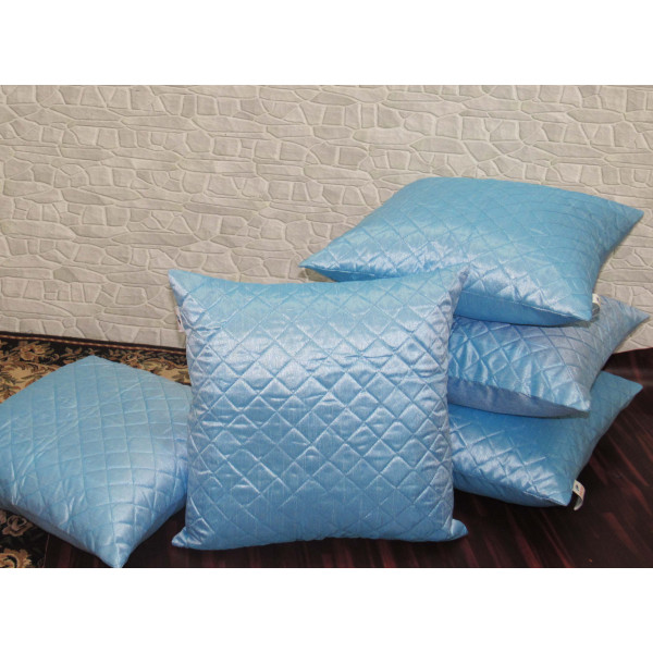Zikrak Exim Set of 5 Sky Blue Box Quilted Cushion Covers