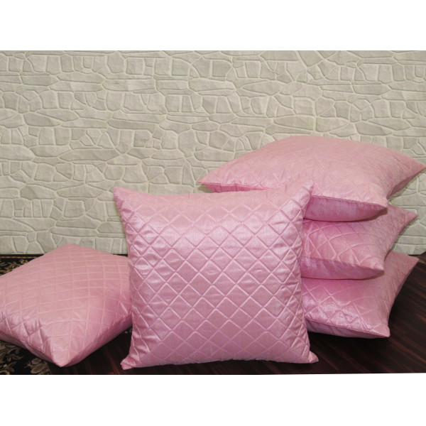 Zikrak Exim Set of 5 Pink Box Quilted Cushion Covers