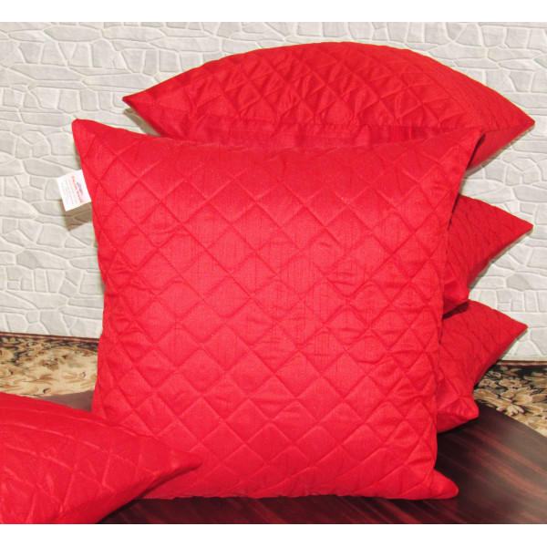 Zikrak Exim Set of 5 Red Box Quilted Cushion Covers