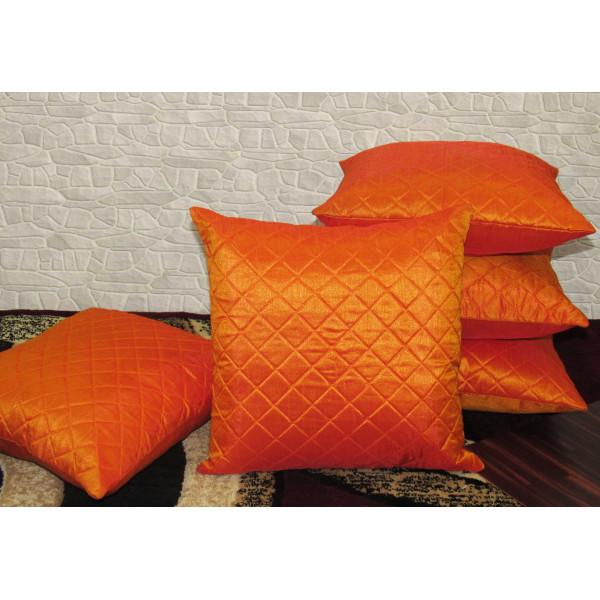 Zikrak Exim Set of 5 Orange Box Quilted Cushion Covers