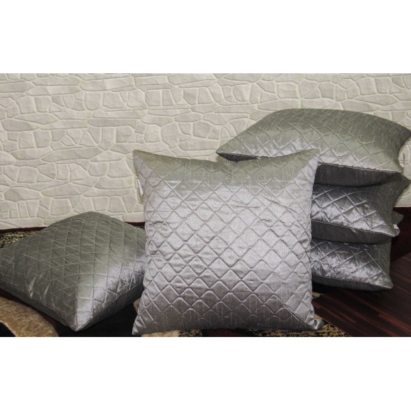 Zikrak Exim Set of 5 Silver Box Quilted Cushion Covers