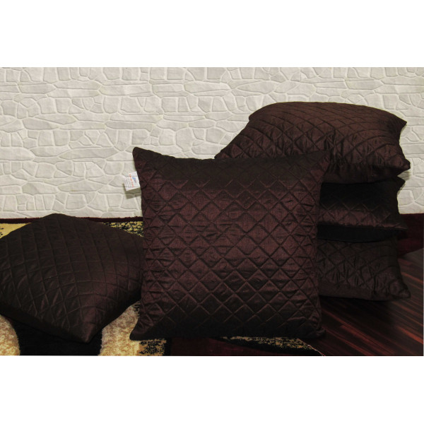 Zikrak Exim Set of 5 Brown Box Quilted Cushion Covers