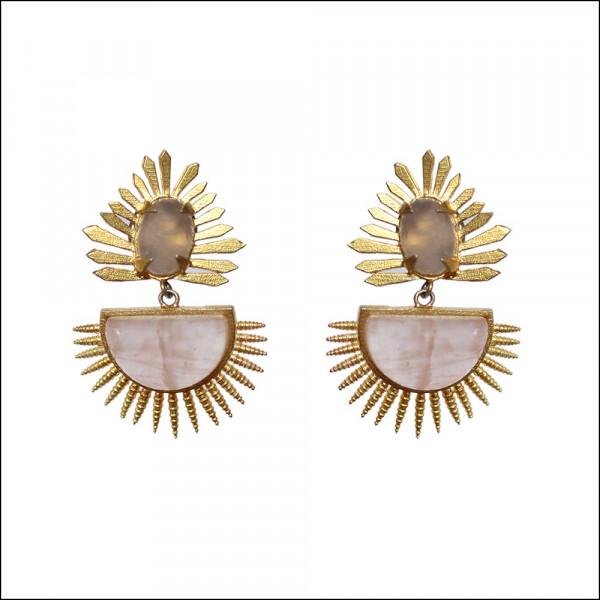 Gold plated Rose Quartz Spike Earrings