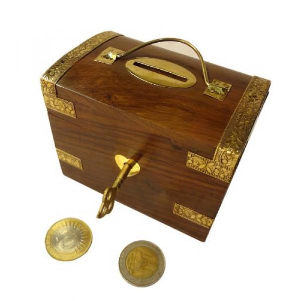 Pindia Beautiful vintage Traditional chest shaped medium wooden money box