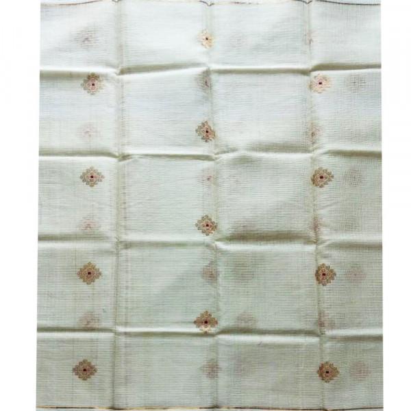 Dupatta cotton white gold zari buty