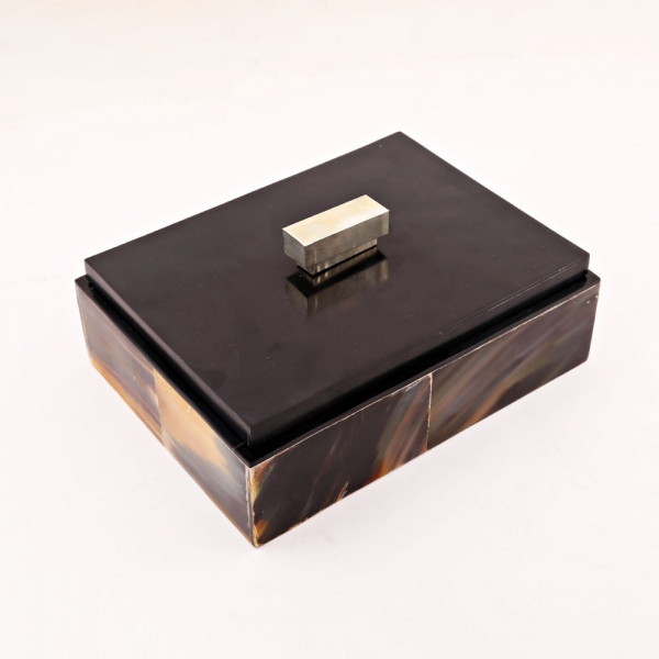 Amaan Winston Natural Horn Jewlery Box with Metal Lid Knob